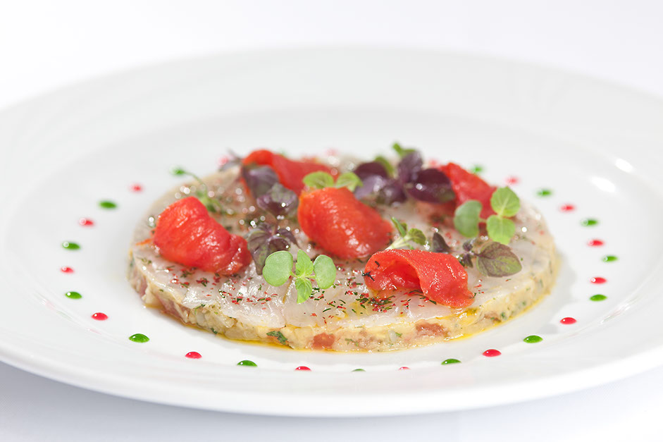 Carpaccio of seabass on eggplant caviar from the restaurant oliv in basel.